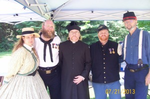 From left: Mary Louise Daley, Camp Comander Tim Daley, Chaplain Rev. Jerome Lukachinsky, Warren Doyle, and Robert Howe