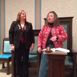 Cindy Hilliard, President of the Department of Ohio, Auxiliary to the Sons of the Union Veterans of the Civil War (left) and Sue Freshley, President of the Auxiliary to the Garfield Camp.